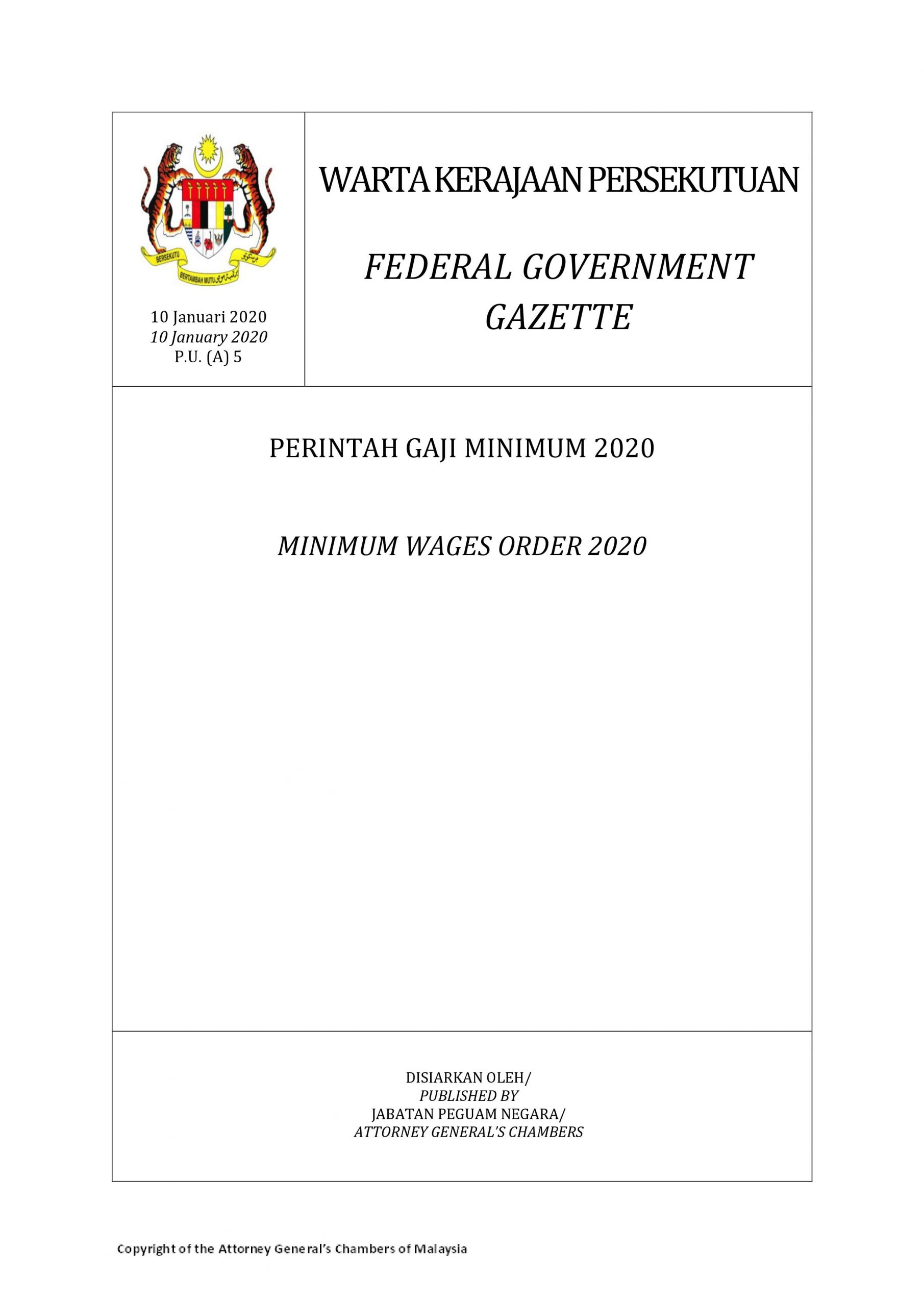 Warta Kerajaan Persekutuan Perintah Gaji Minimum 2020 Berkuatkuasa 1 Februari 2020 Pikm My
